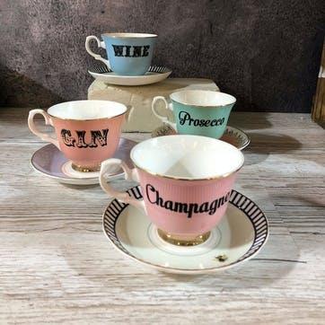 Pastel Wine Teacup & Saucer