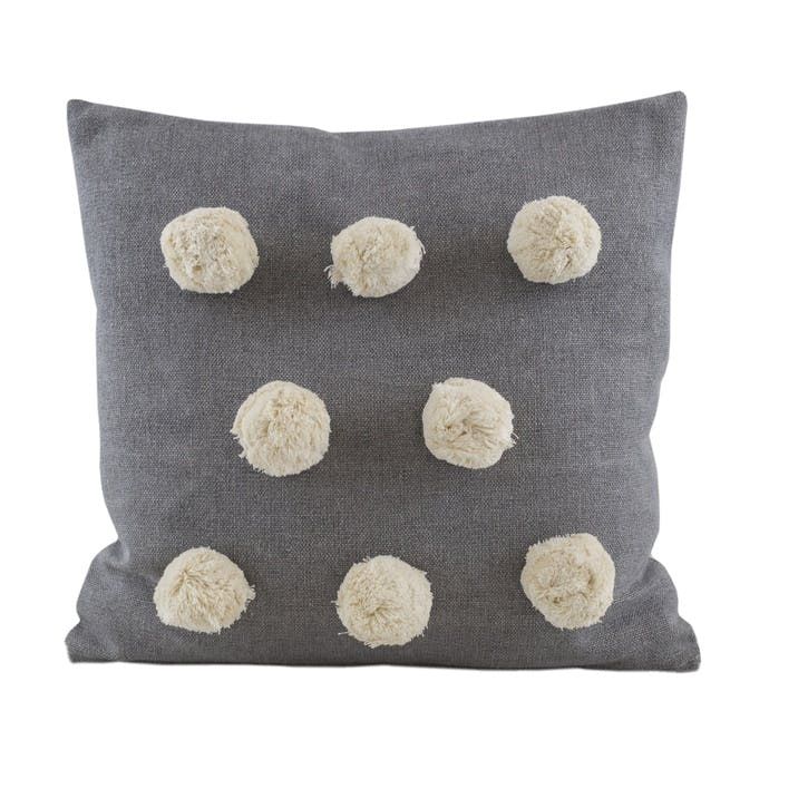 Giant Pom Pom Cushion, Grey