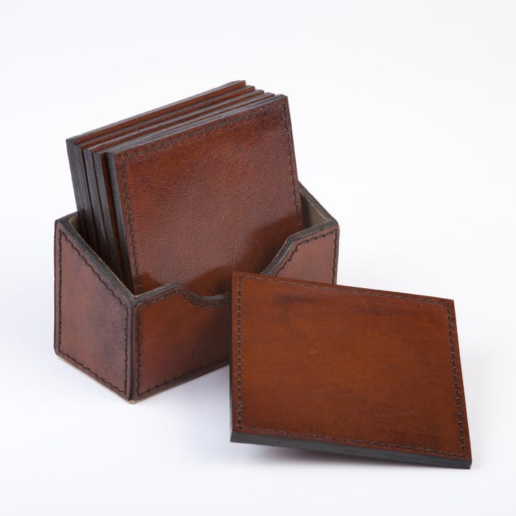 Square Leather Coasters, Set of 6