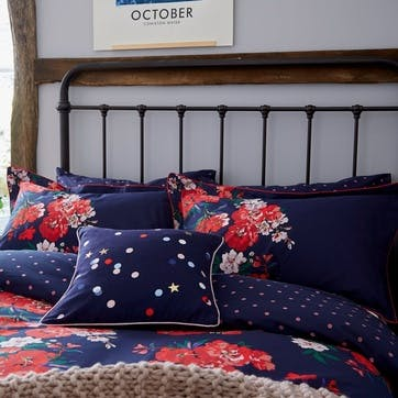 Beau Floral Super-King Duvet Cover, French Navy