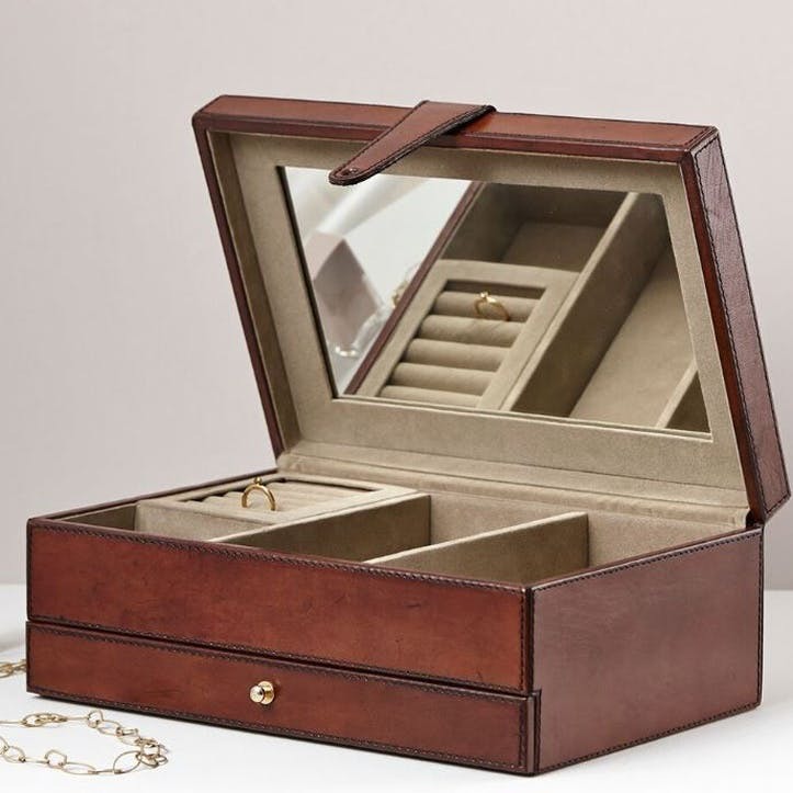 Large Leather Jewellery Box, Tan