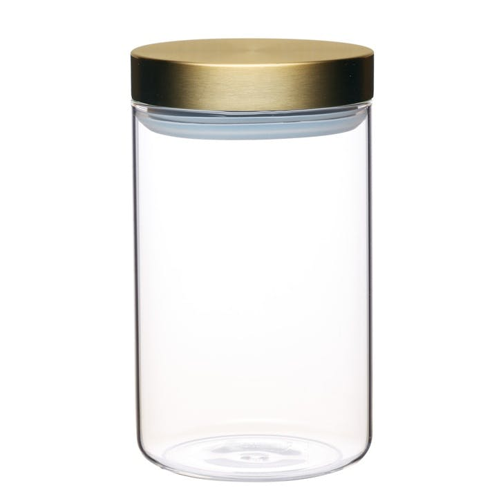 Metallics Airtight Medium Glass Food Storage Jar with Brass Lid