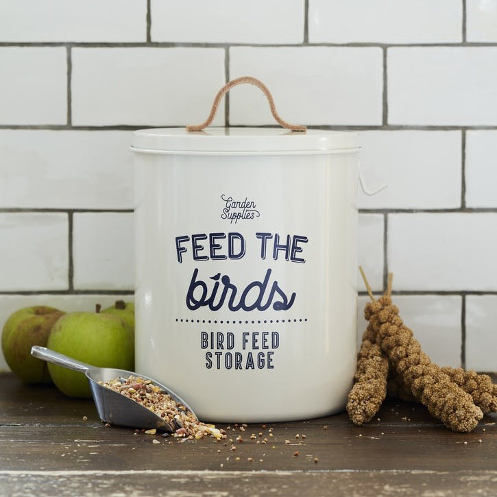Enamelware Bird Feed Tin, Stone