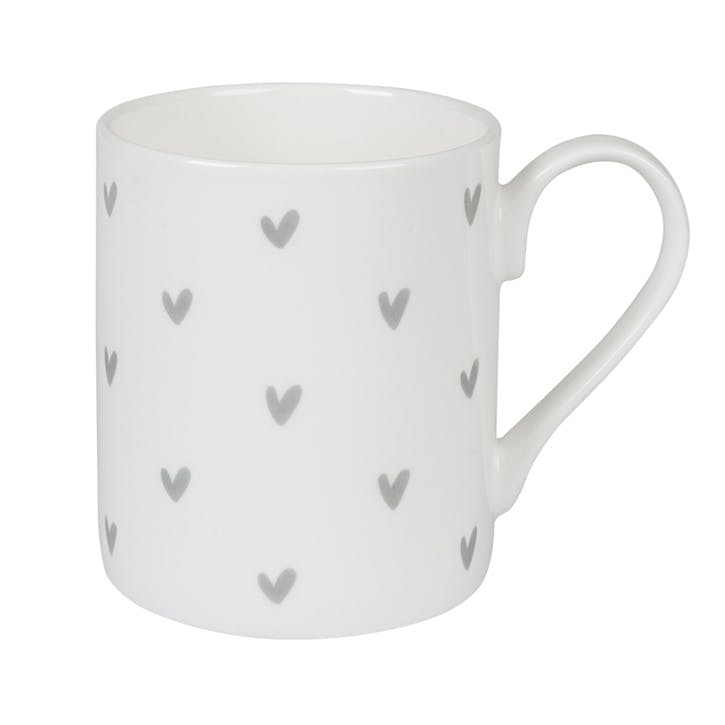 Grey 'Hearts' Mug - Standard