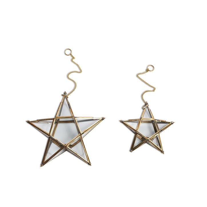 Antique Brass Glass Star - Small