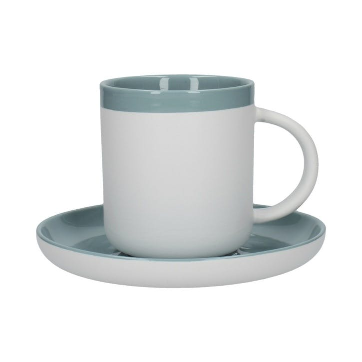 Barcelona Espresso Cup and Saucer, Retro Blue