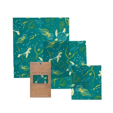 Ocean Print Food Wraps, Pack Of 3, Small/Med/Large