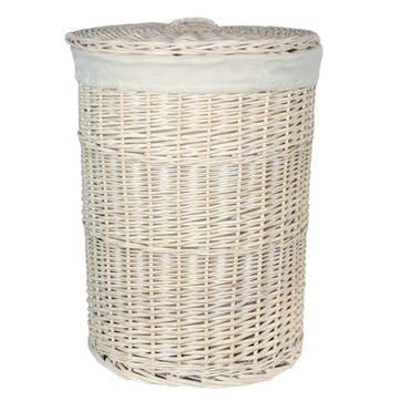 Round White Wash Laundry Hamper With White Lining, Large