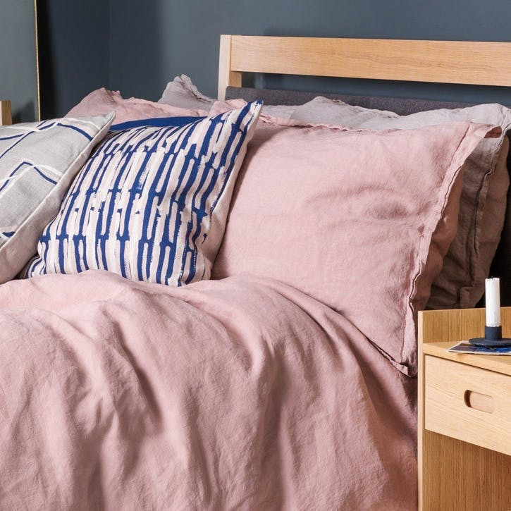 Washed Linen - Double Fitted Sheet; Dusky Pink
