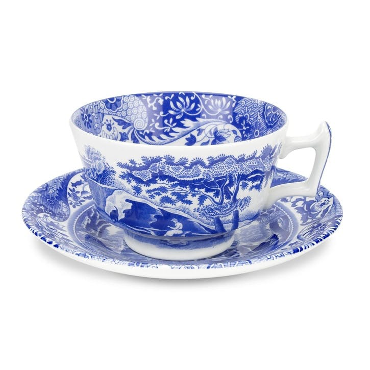 Blue Italian Teacups & Saucers, Set of 4