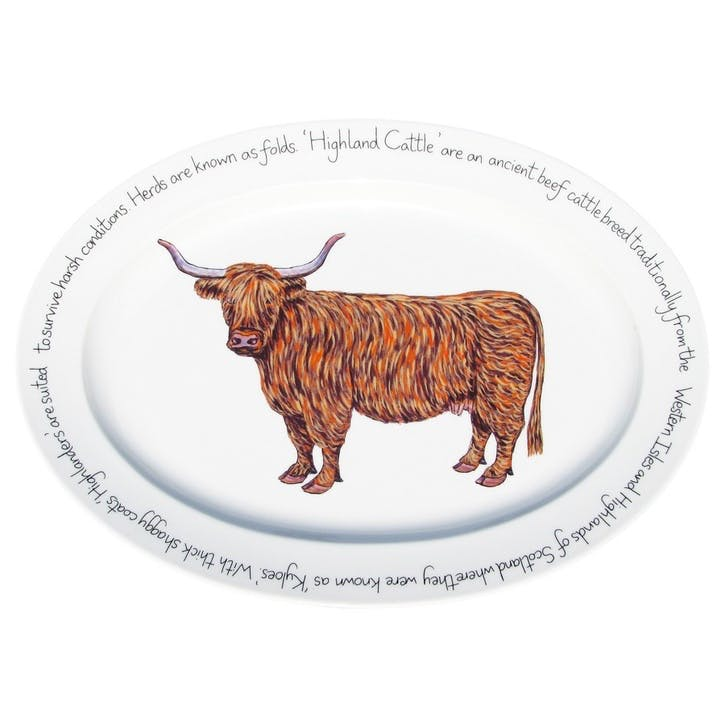 Highland Cow Oval Plate - 39cm