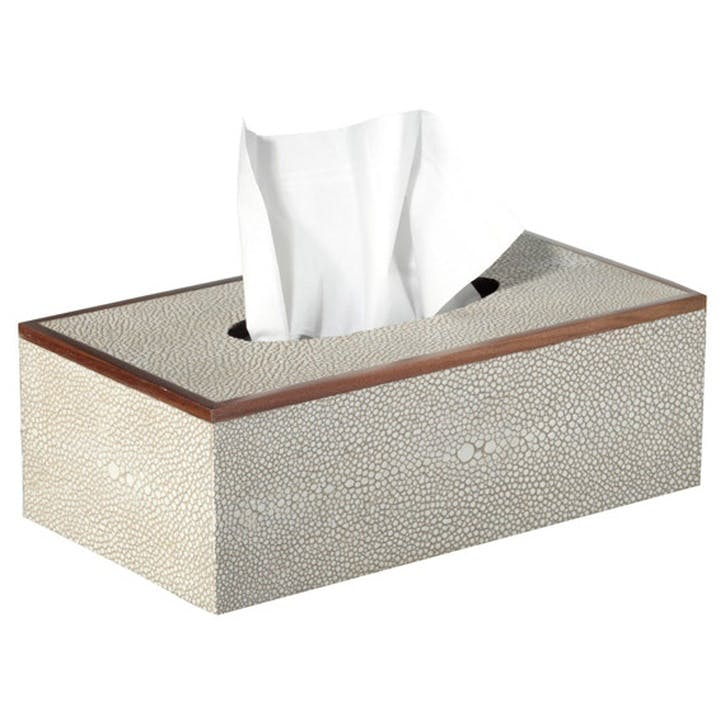 Faux Shagreen Tissue Box Holder, Taupe