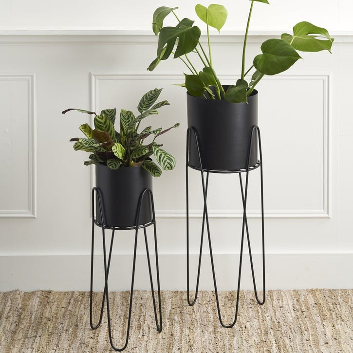 Set of 2 Standing Planters, Black