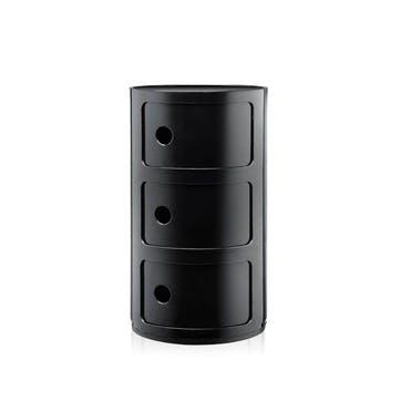 Componibili, 3 Door Cabinet, Black