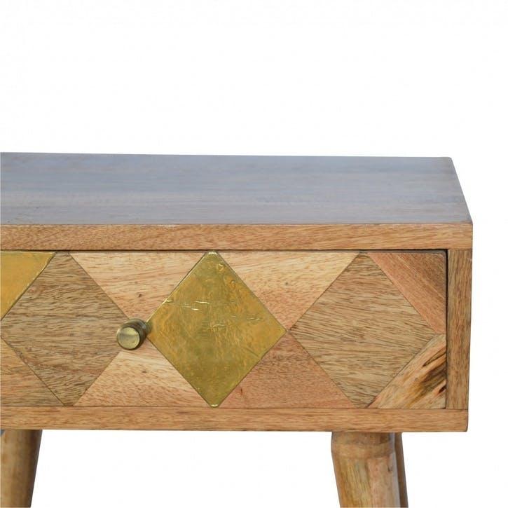 Geometric Brass Insert Bedside Table