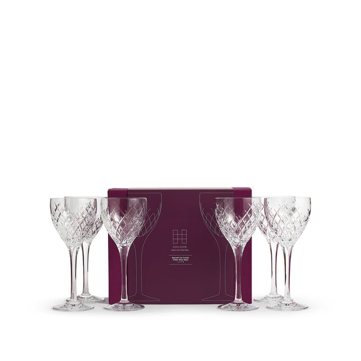 Barwell Cut Crystal White Wine Glass, Set of 6