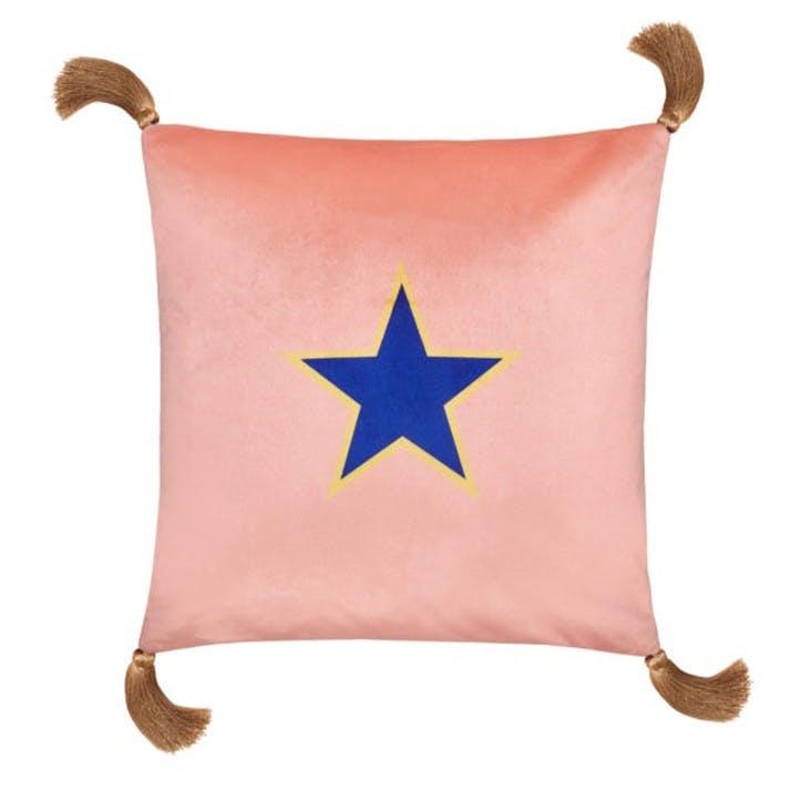 Lone Star Velvet Cushion, Dahlia Pink