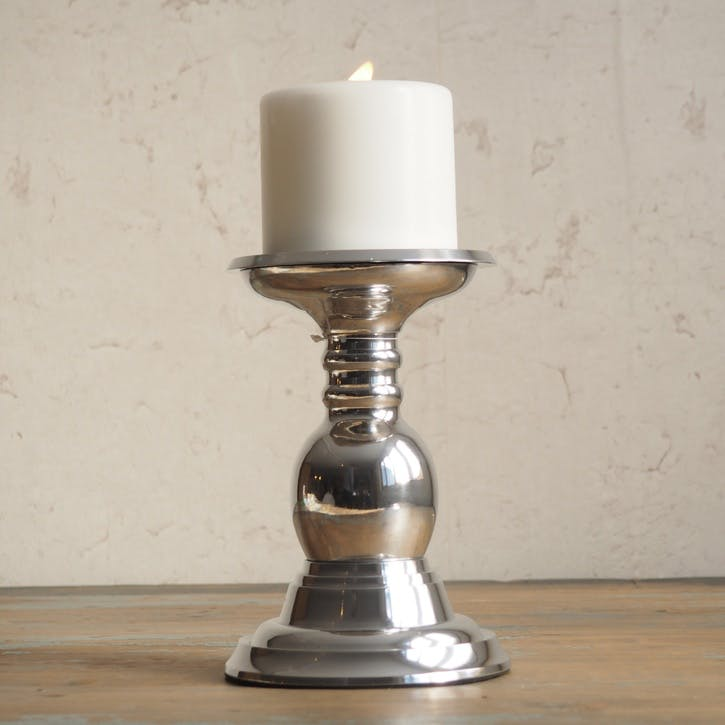 Silver Pillar Candle Holder