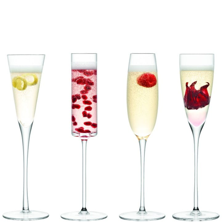 LSA Lulu Set of 4 Champagne Flute Assorted