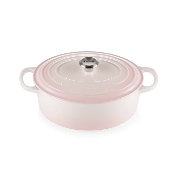 Cast Iron Oval Casserole, 25cm, Shell Pink