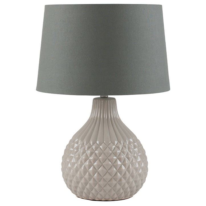 Rhea Geo Ceramic Table Lamp; Grey