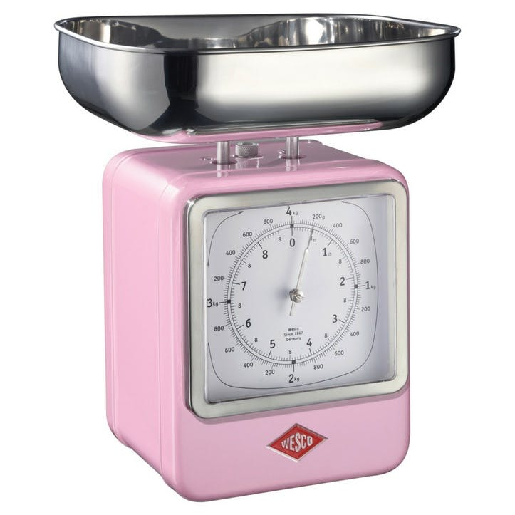 Retro Scale with Clock; Pink