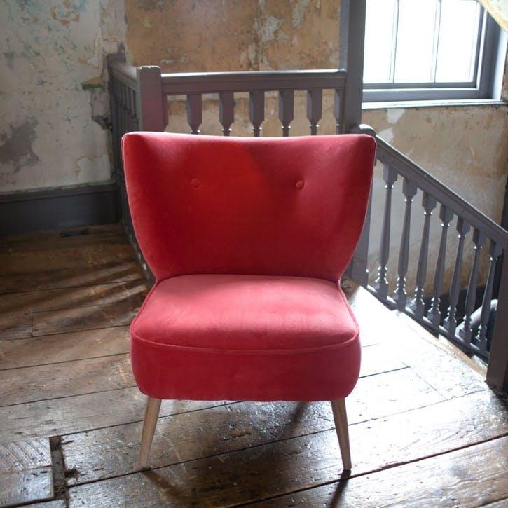 Alpana Coral Red Velvet Cocktail Chair