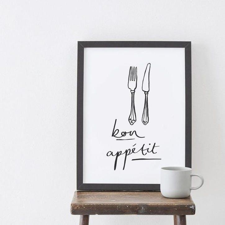 'Bon Appétit' Print, A3, Black & White