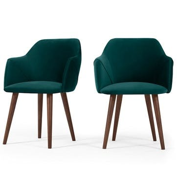 Lule Set of 2 Carver Dining Chairs; Seafoam Blue Velvet