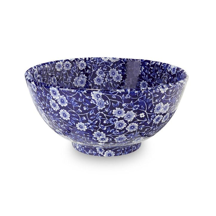 Calico Footed Bowl, Medium, Blue