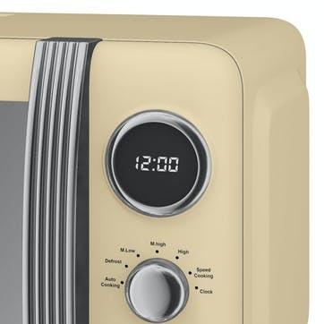 Retro 800W Digital Microwave, Cream