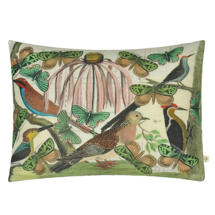 John Derian Floral Aviary Parchment Cushion