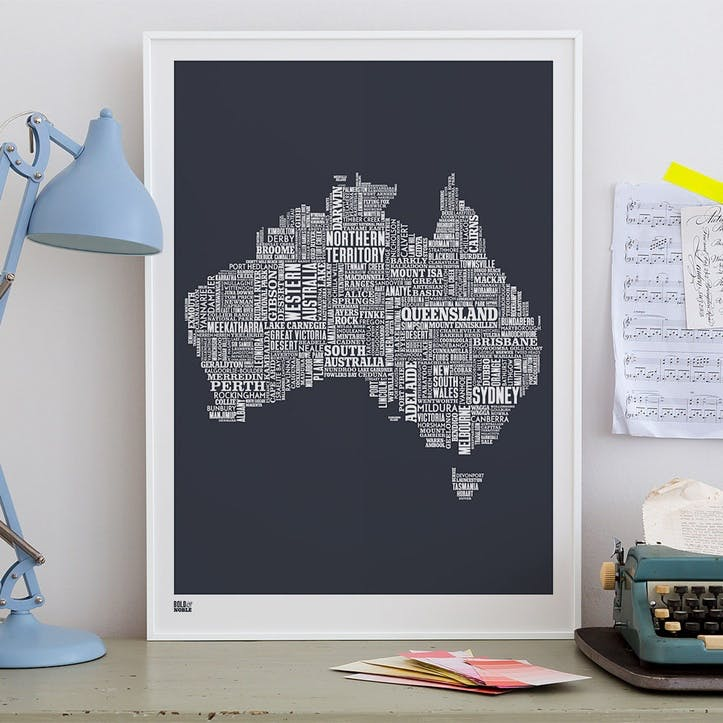Type Map Screen Print Australia, 50cm x 70cm, Sheer Slate