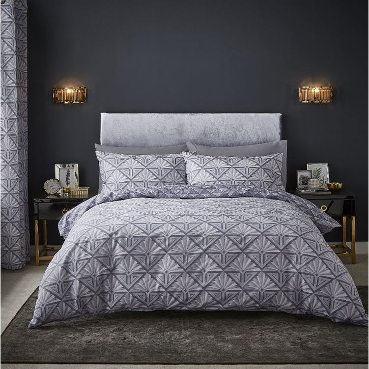 Art Deco King Size Bedding Set, Grey