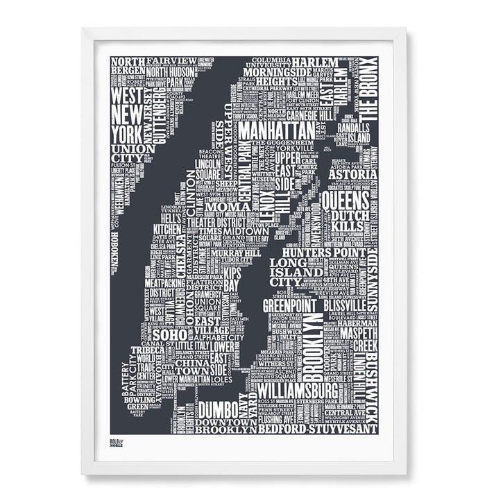 Type Map Screen Print New York City, 50cm x 70cm, Slate Grey