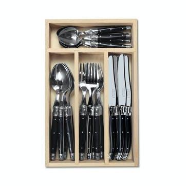 24 Piece Cutlery Set, Black Handle