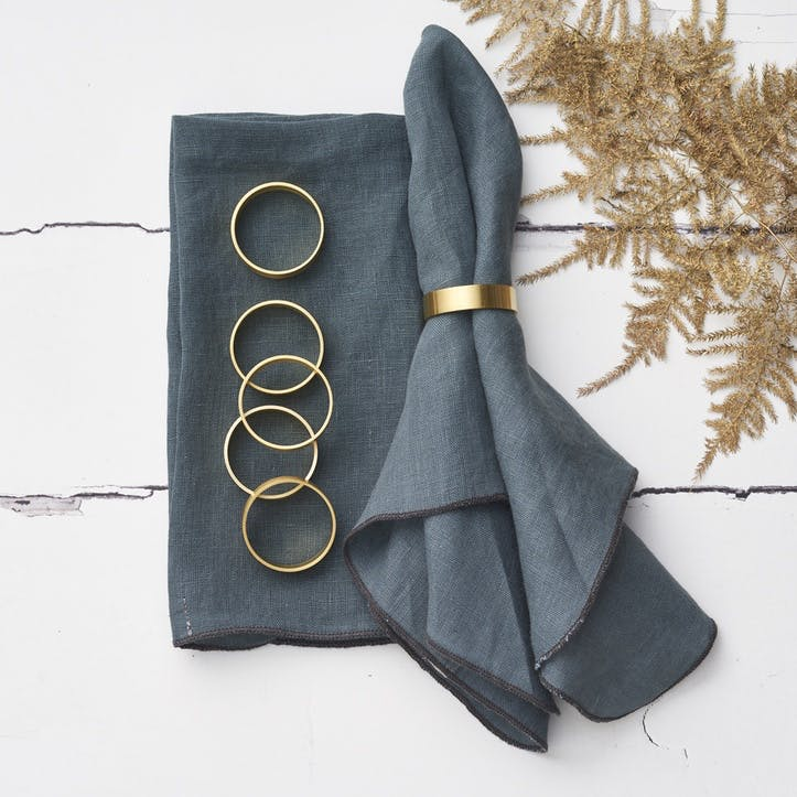 Set of 6 Brass Napkin Rings