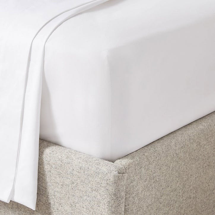Soames Cupro Cotton, Superking Fitted Sheet, Chalk