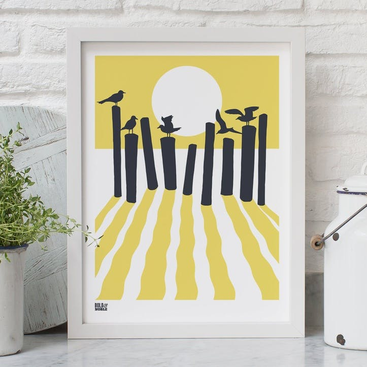 On The Beach Screen Print - 30 x 40cm; Pale Yellow