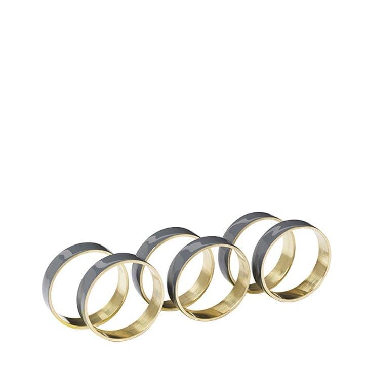 Enamel Napkin Ring, Set of 6, Smoke