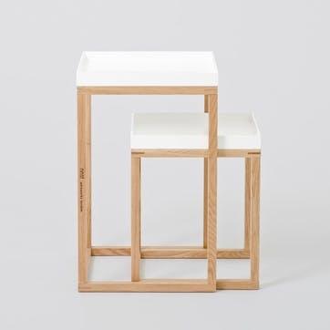 Nest Pair of Tables, White/Oak