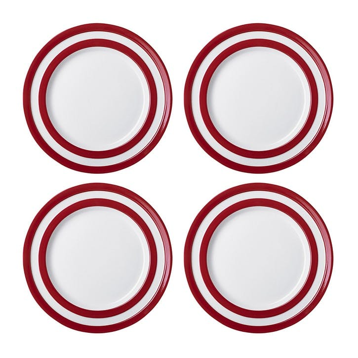 Cornish Red Lunch Plates, Set of 4