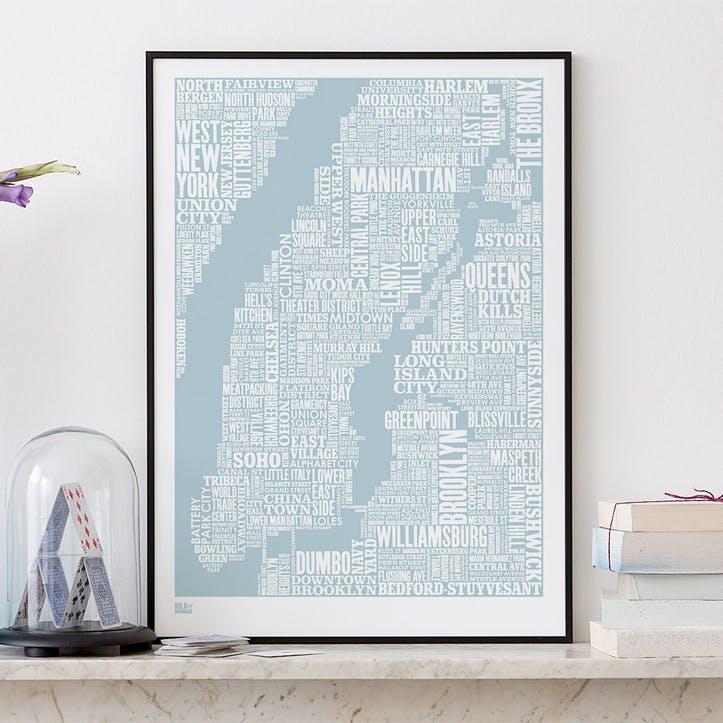 Type Map Screen Print New York City, 50cm x 70cm, Duck Egg Blue