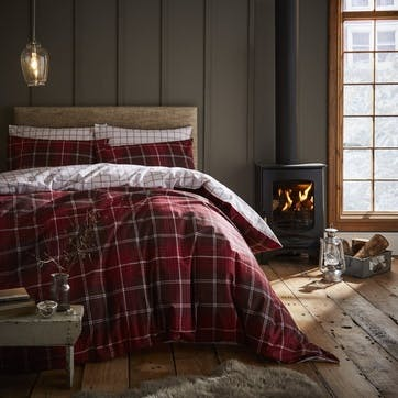 Brushed Tartan Check Double Bedding Set, Red