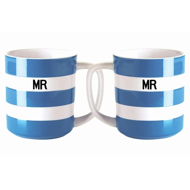 Set of 2 'Mr & Mr' Mugs, 10oz/28cl, Blue