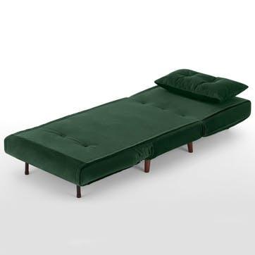 Haru Sofa Bed - Single; Pine Green Velvet