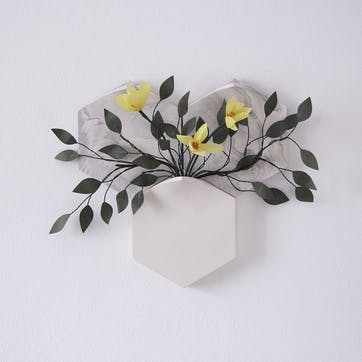 Teumsae Set of 3 Wall Mounted Planter, White Marble