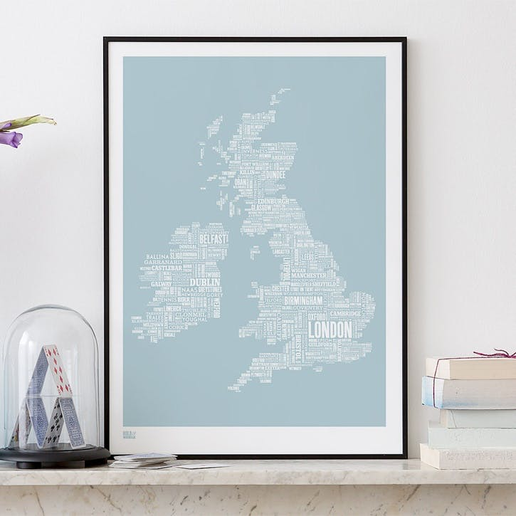 Type Map Screen Print UK and Ireland, 50cm x 70cm, Duck Egg Blue