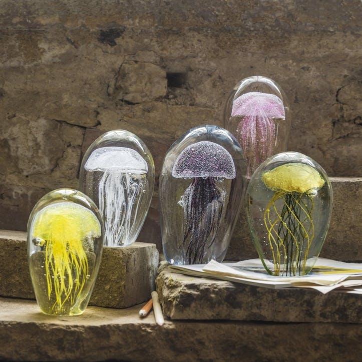 Blown Glass Pink Jellyfish Paperweight
