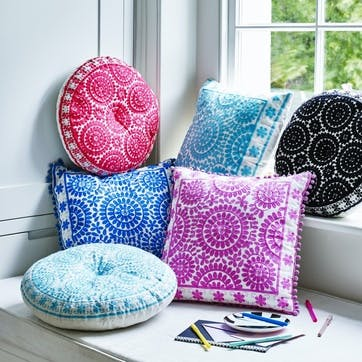 Souk Embroidered Cushion, 40cm, Turquoise